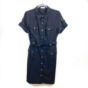 Calvin Klein Black Shirt Dress Gold Button Size 8